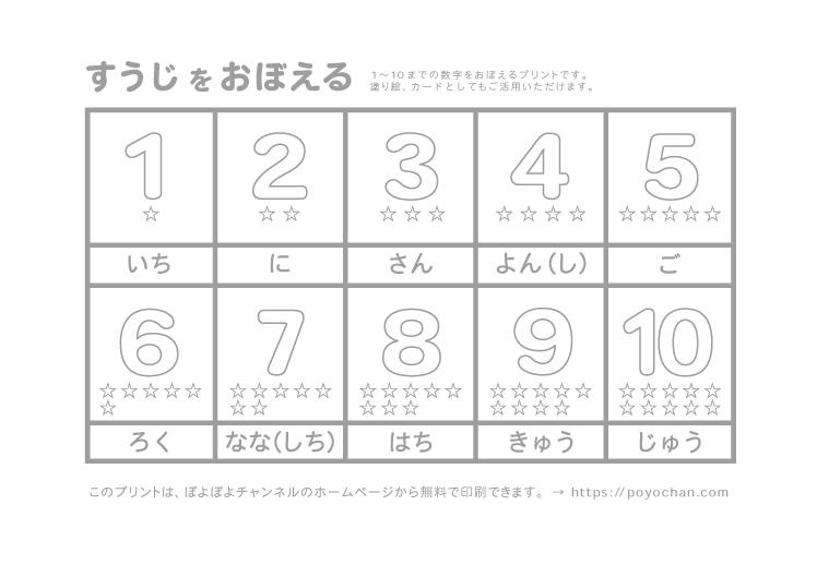 1から10までの数字を覚える学習プリント