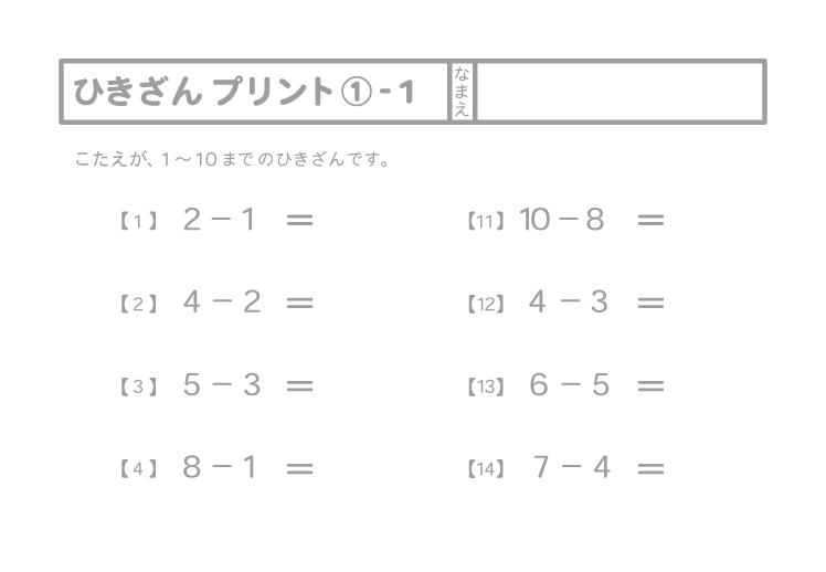 引き算プリント①-1(全 20問)モノクロ印刷