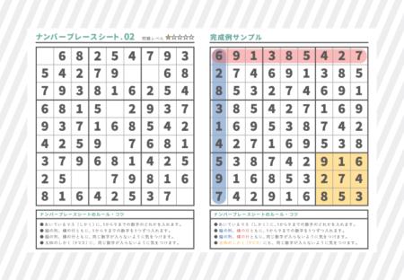 ナンバープレースシート02【初級】無料印刷